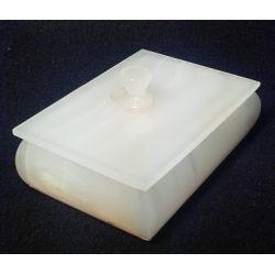 Grande Boite à bijoux en pierre d'onyx blanche 12 X 9 X 4.5 cm