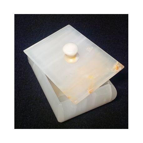 Boite à bijoux en pierre d'onyx blanche 10 X 7 X 3.5 cm