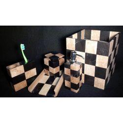 Assortiments pour salle de bain 5 éléments en Marbre brun et noir