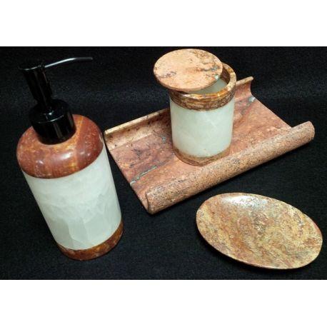 Assortiment salle de bain marbre brun et onyx blanc 4 éléments