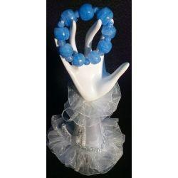 Bracelet en pierre d'onyx taillé en perle teinté bleu