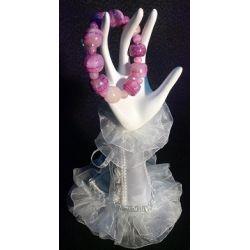 Bracelet en pierre d'onyx taillé en perle teinte mauve