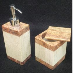 Assortiment salle de bain marbre brun  2 éléments