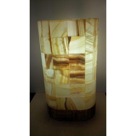 Luminaire de forme Ovale en Onyx Blanc assemblé 35 cm