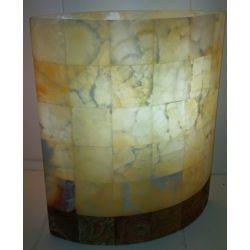 Lampe ellipse en pierre d'onyx avec une base en marbre 30X26X16 cm