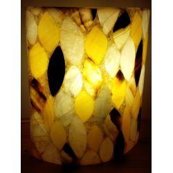Luminaire de forme elliptique en Onyx assemblé en forme de feuille