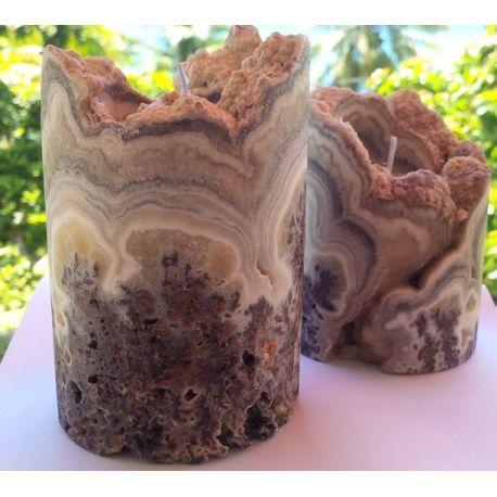 Chandelier taillé en cylindre en onyx marron e