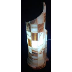 Lampe Escargot en onyx brun et blanc 43X16X16 cm