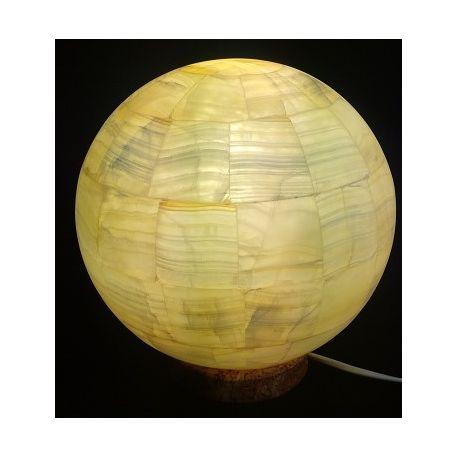 Luminaire en forme de Sphère en Onyx assemblé 22 cm de diamètre