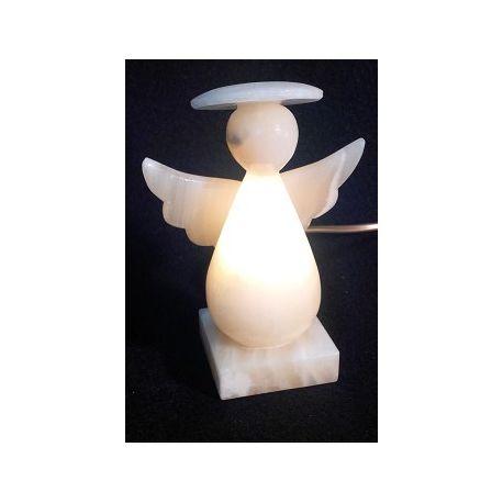 Luminaire Petit Ange en pierre d'Onyx Brun et jaune 15cm