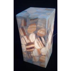 Luminaire en forme de Cube en pierre d'onyx assemblé en forme de feuille 15 X 15 X 30 cm