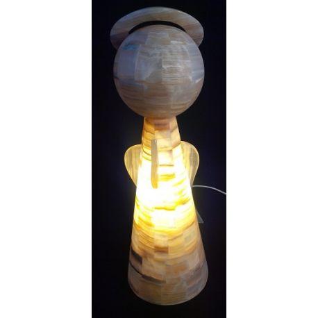 Luminaire en forme d'Ange en pierre d'Onyx Brun et jaune 52 cm