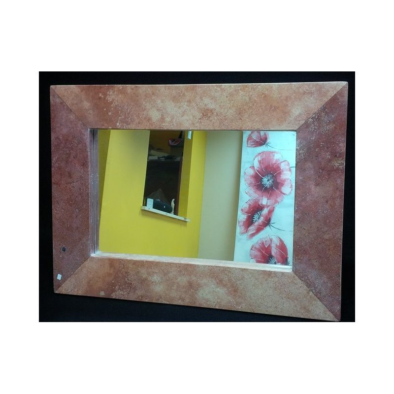 Miroir en marbre rouge 68 x 50 x 2 5 cm mexicarte for Miroir 50 cm