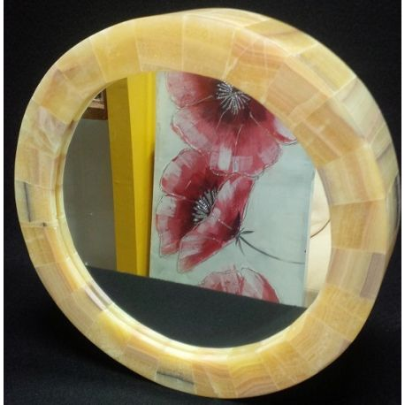 Miroir en pierre d'Onyx couleur Or 40 cm diamètre