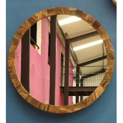 Miroir circulaire en Onyx Brun 70 X 10 cm