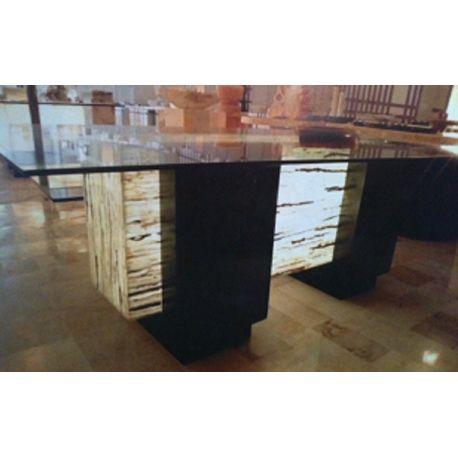 Table composite trois matériaux verre, bois, et Onyx