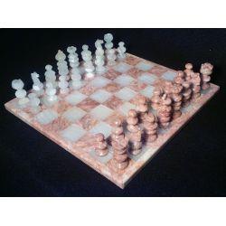 Plateau Échiquier  et  plateau Dame chinoises en onyx blanc et en marbre rose 30 X 30 cm