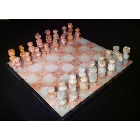 grand chiquier en onyx blanc et marbre rose 34 x 34 cm. Black Bedroom Furniture Sets. Home Design Ideas