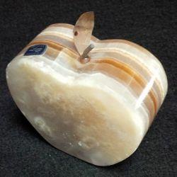 Pomme moyenne en pierre d'onyx brun 8 X 4 X 7 cm