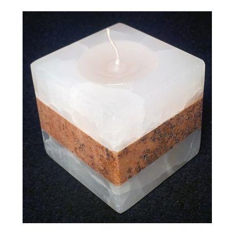 Chandelier taillé en cube en onyx blanc et marbre 6 X 6 X 6 cm