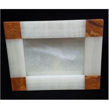 Cadre photo rectangulaire en pierre d'onyx  blanc et marbre 22 X 17 cm