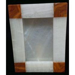 Cadre photo verticale en pierre d' onyx blanc et marbre 17 X 22 cm