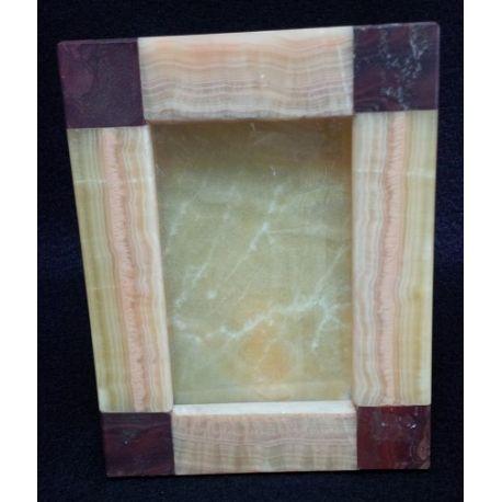 Cadre photo en pierre d'onyx or et marbre 17 X 22 cm