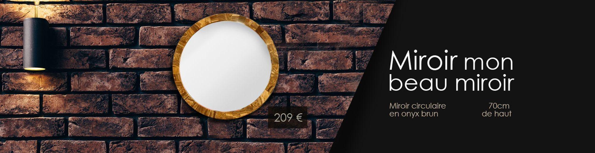 Miroir circulaire en Onyx Brun